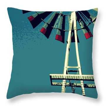 Windmill Throw Pillow by Valerie Reeves