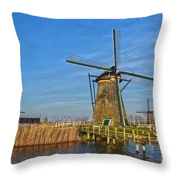 Windmills And Bridge Near Kinderdijk Throw Pillow