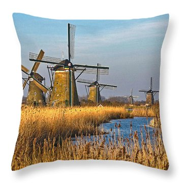 Windmills And Reeds Near Kinderdijk Throw Pillow
