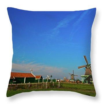 Windmills At Zaanse Schans Throw Pillow by Jonah  Anderson