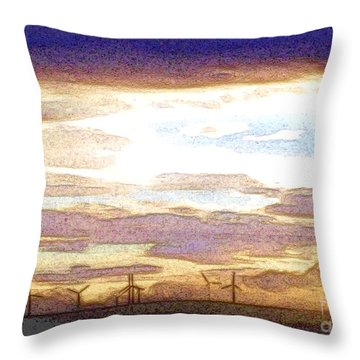 Windmills Throw Pillow by Nina Ficur Feenan