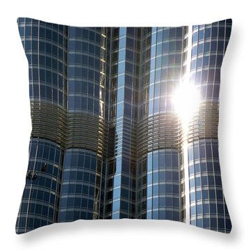 Throw Pillow featuring the photograph Window Cleaners Burj Khalifa by Henry Kowalski