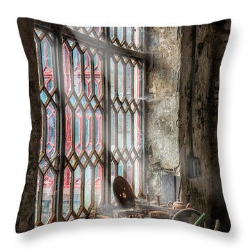 Window Decay Throw Pillow by Adrian Evans
