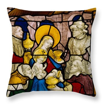 Window Depicting The Adoration Of The Kings Throw Pillow by Flemish School