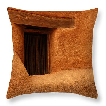 Window Detail Degrazia Mission In The Sun Throw Pillow by Vivian Christopher