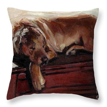 Throw Pillow featuring the painting Window Dresser by Molly Poole