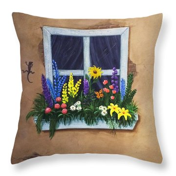 Window Garden Throw Pillow