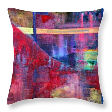 Window In The Red Lounge Throw Pillow