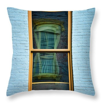 Window In Window In Red Bank Throw Pillow by Gary Slawsky