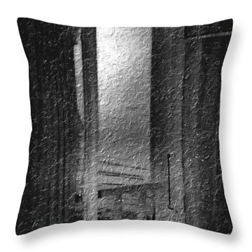 Window Ocean View Black And White Digital Painting Throw Pillow