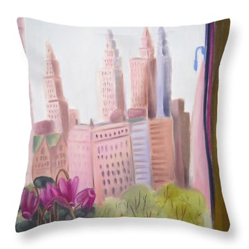 Window On Central Park South Throw Pillow by Tatjana Krizmanic