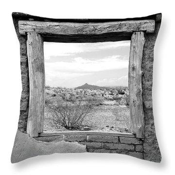 Window Onto Big Bend Desert Southwest Black And White Throw Pillow