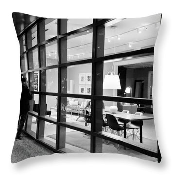 Window Shopping In The Dark Throw Pillow by Melinda Ledsome