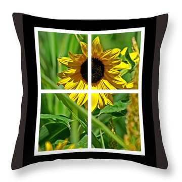 Window Sun Flowers Throw Pillow