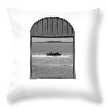 Window View Of Desert Island Puerto Rico Prints Black And White Throw Pillow by Shawn O'Brien