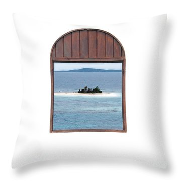 Window View Of Desert Island Puerto Rico Prints Diffuse Glow Throw Pillow by Shawn O'Brien