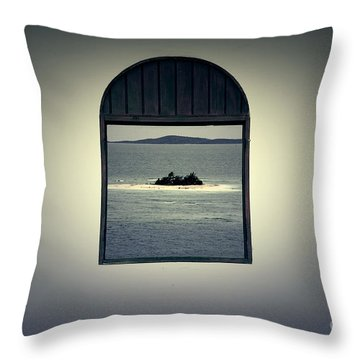 Window View Of Desert Island Puerto Rico Prints Lomography Throw Pillow by Shawn O'Brien