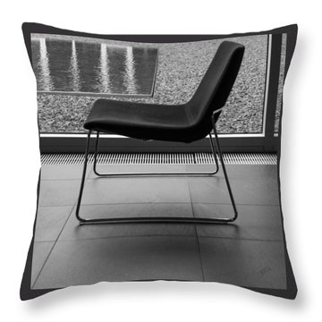 Window View With Chair In Black And White Throw Pillow by Ben and Raisa Gertsberg