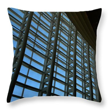 Throw Pillow featuring the photograph Window Wall At The Adrienne Arsht Center by Greg Allore