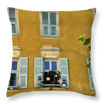 Throw Pillow featuring the photograph Windowboxes In Nice France by Allen Sheffield