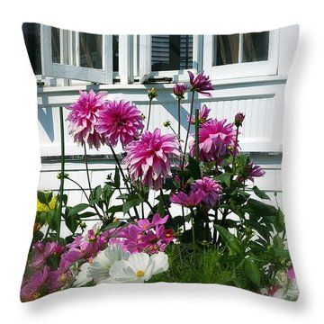 Throw Pillow featuring the photograph Windows And Flowers by Randy Pollard