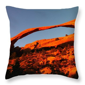Windows Arch In The Morning Throw Pillow by Jeff Swan
