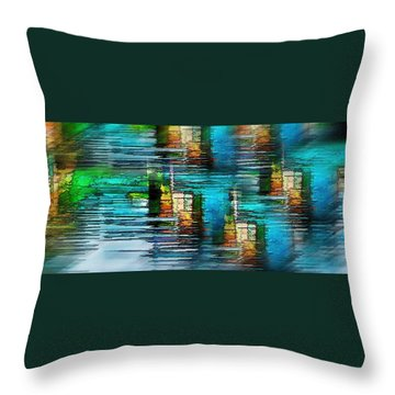 Windows Into The Blue Throw Pillow by Pamela Blizzard