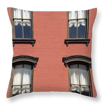 Throw Pillow featuring the photograph Window's Of Hudson Ny by Ira Shander
