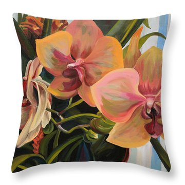 Windowsill Orchids Throw Pillow