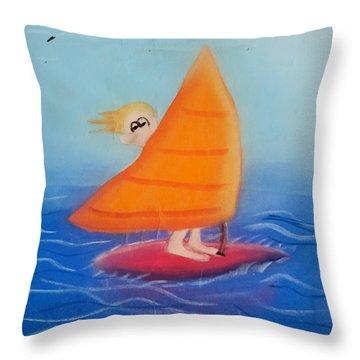 Windsurfer Dude Throw Pillow