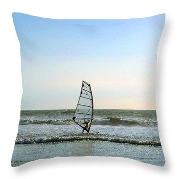 Windsurfing Throw Pillow by Ben and Raisa Gertsberg