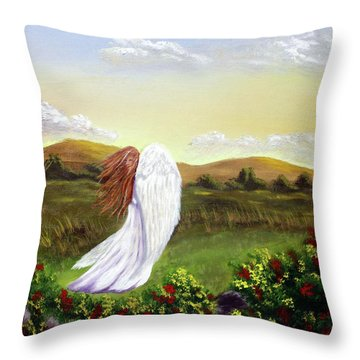 Windswept Angel Throw Pillow
