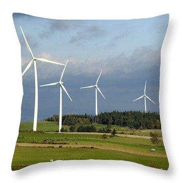 Windturbines Throw Pillow by Bernard Jaubert