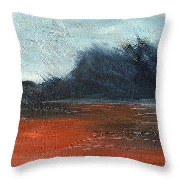 Throw Pillow featuring the painting Windy Beach by Jani Freimann