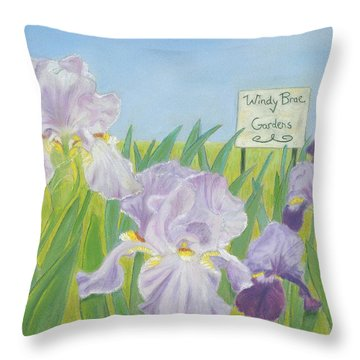 Throw Pillow featuring the painting Windy Brae Gardens by Arlene Crafton