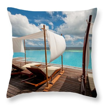 Windy Day At Maldives Throw Pillow