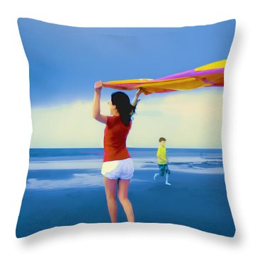 Children Playing On The Beach Throw Pillow by Vizual Studio