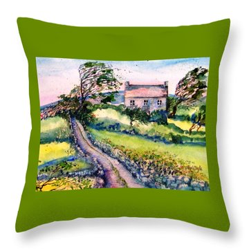 Throw Pillow featuring the painting Windy Day Clear Island  by Trudi Doyle