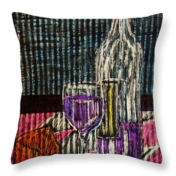 Wine And Cheese Throw Pillow by Celeste Manning
