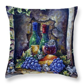 Wine And Cheese Social Throw Pillow by Gail Butler