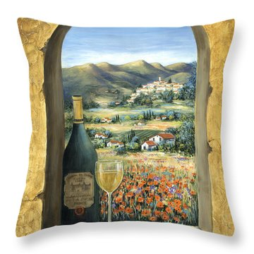 Wine And Poppies Throw Pillow