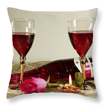 Wine And Rose By Candlelight Throw Pillow by Inspired Nature Photography Fine Art Photography