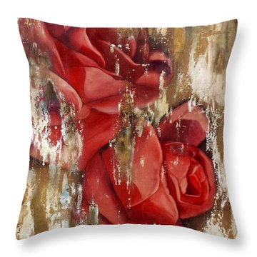 Wine And Roses Throw Pillow by Rebecca Glaze