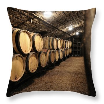 Wine Barrels In A Cellar. Cote D'or. Burgundy. France. Europe Throw Pillow by Bernard Jaubert