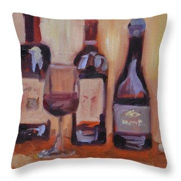 Wine Bottle Trio Throw Pillow by Donna Tuten
