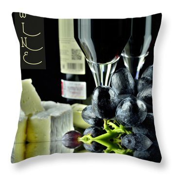 Wine Bottle With Glass Throw Pillow