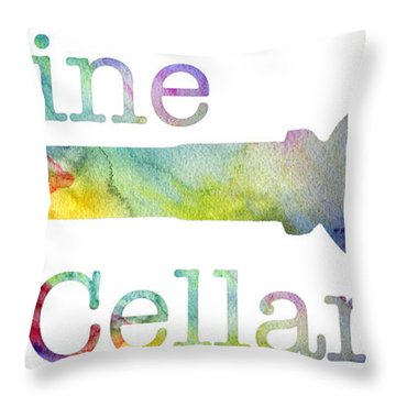 Wine Cellar Watercolor Throw Pillow