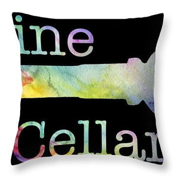 Wine Cellar Watercolor On Black Throw Pillow