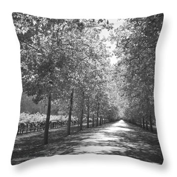 Wine Country Napa Black And White Throw Pillow
