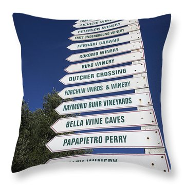 Wine Country Signs Throw Pillow by Garry Gay